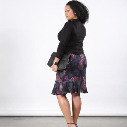 PLUS SIZE Floral Silk Skirt